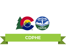 The Colorado Flag logo And CDPHE logo