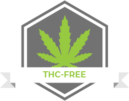 "Vector image of a green hemp leaf against a grey background with the caption ""THC-Free"""