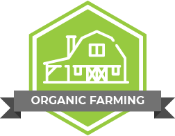"A vector image of a farm house with the caption ""organic farming"""