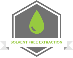 "A vector image in grey and green with a droplet and the words ""solvent free extraction"""