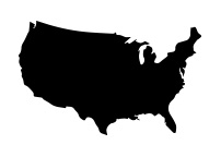 black outline of the United States
